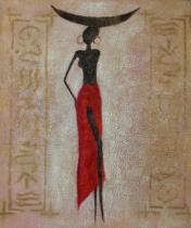 Africké motivy - Modelka v červené sukni, obrazy ručně malované