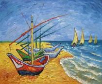 Vincent Van Gogh -  Čluny ze Saintes-Maries, obrazy ručně malované