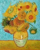 obrazy, reprodukce, Váza s 15 slunečnicemi