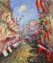 Claude Monet - Plná ulice, obrazy ručně malované