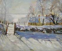 obrazy, reprodukce, Pokrytá sněhem