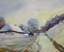 Claude Monet - Spící cesta pod sněhem, obrazy ručně malované