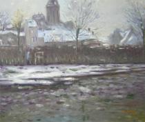 Claude Monet - První sníh, obrazy ručně malované
