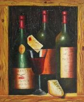 Vázy a nádoby - Vinné láhve, obrazy ručně malované