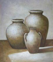 Vázy a nádoby - Tři vázy, obrazy ručně malované