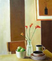 Vázy a nádoby - Na stole, obrazy ručně malované