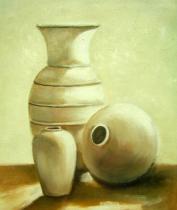 Vázy a nádoby - Bílé vázy, obrazy ručně malované