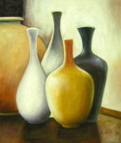 Vázy a nádoby - Pět váz, obrazy ručně malované