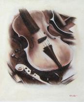 Zátiší - Housle, obrazy ručně malované