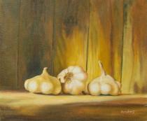 Zátiší - Česnek, obrazy ručně malované