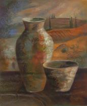 Vázy a nádoby - Váza a miska, obrazy ručně malované