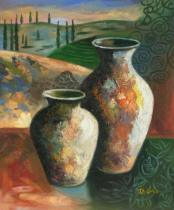 Vázy a nádoby - Dvě vázy, obrazy ručně malované