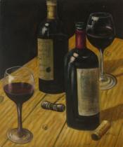 Vázy a nádoby - Červené víno, obrazy ručně malované