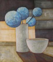 obrazy, reprodukce, Modré kulaté květy