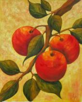 Zátiší - Červené ovoce, obrazy ručně malované
