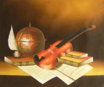 Zátiší - Housle a knihy, obrazy ručně malované
