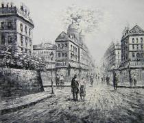 obrazy, reprodukce, Černobílá ulice