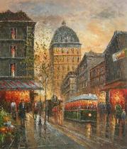 obrazy do bytu - obraz Večerní sen Paříže - obrazy ručně malované