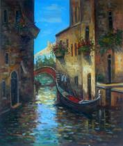 obrazy, reprodukce, Ulička Benátek s Gondolou