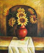 Slunečnice - Váza slunečnic, obrazy ručně malované