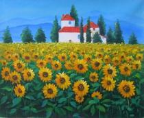 obrazy do bytu - obraz Slunečnicové pole s chalupou - obrazy ručně malované