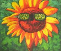Slunečnice - Slunečnice s brýlemi, obrazy ručně malované