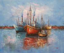 Moře a lodě - Přístav, obrazy ručně malované
