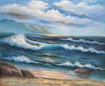Moře a lodě - Pobřeží, obrazy ručně malované