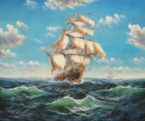 obrazy, reprodukce, Plachetnice na moři