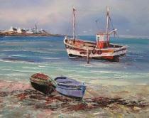 Moře a lodě - Loďka, obrazy ručně malované