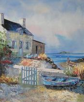 Moře a lodě - Pobřeží s loďkou, obrazy ručně malované