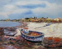 Moře a lodě - Loď na břehu, obrazy ručně malované