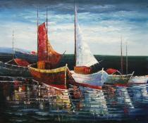Moře a lodě - Přístav plachetnic, obrazy ručně malované