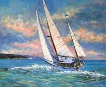 Moře a lodě - Plachetnice na moři, obrazy ručně malované