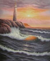 Moře a lodě - Maják u moře, obrazy ručně malované