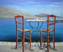 Moře a lodě - Posezení u moře, obrazy ručně malované