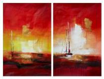 Obrazové sety - Abstrakce úsvit, obrazy ručně malované