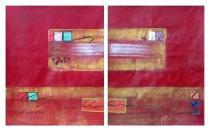 Obrazové sety - Červená a zlatá, obrazy ručně malované
