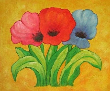 obraz Tři rozkvetlé tulipány