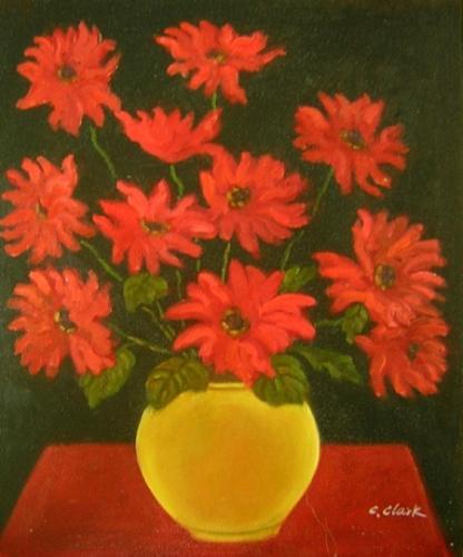 obraz Kytice rudých květů ve váze