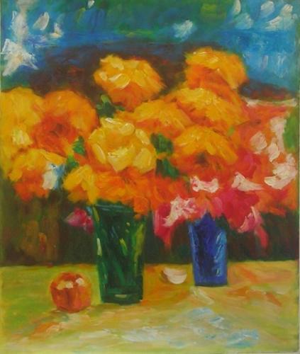 obraz Oranžovo červené květy