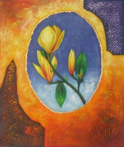 obraz Žlutá růže v oválu