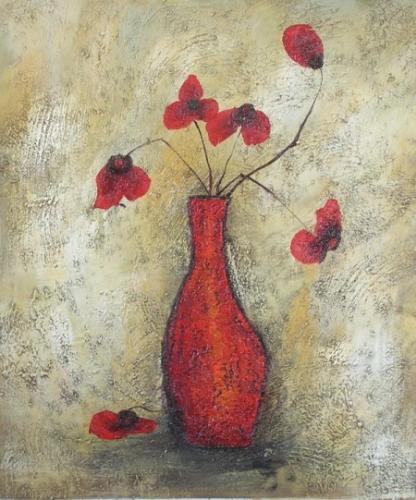 obraz Zvadlé červené květy