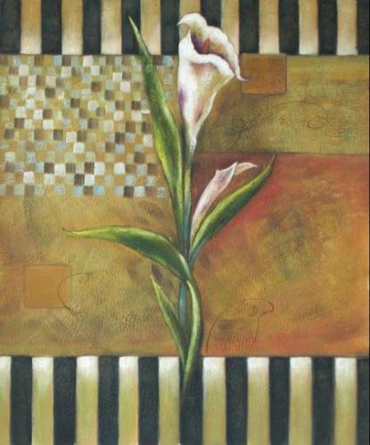obraz Bílý květ v pruzích II