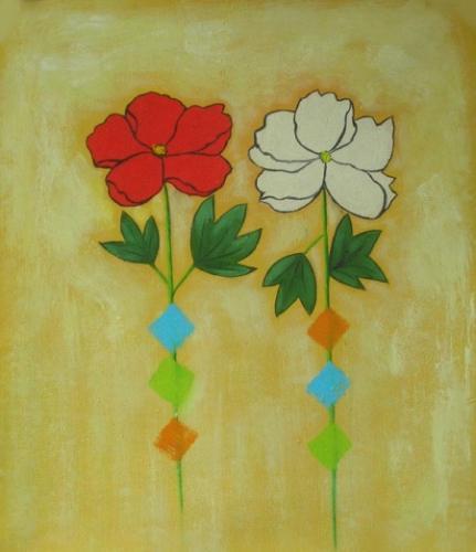obraz Malované květy