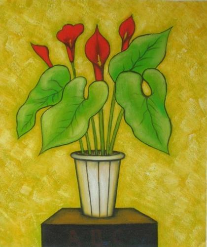 obraz Kytice v květináči