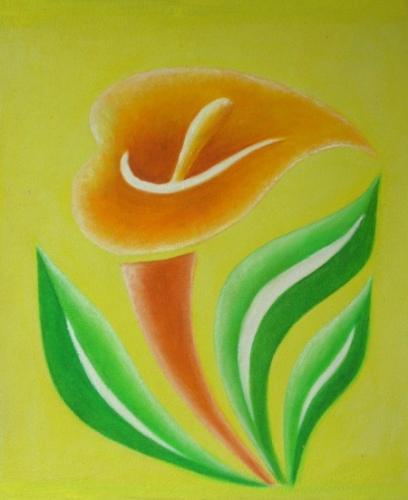 obraz Zelenooranžový květ