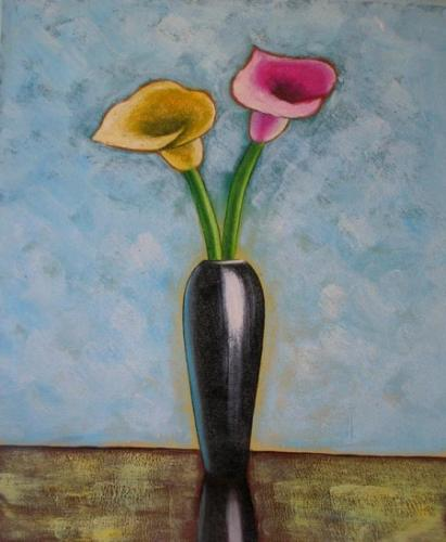 obraz Růžový a žlutý květ