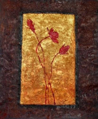 obraz Květy ve zlatě