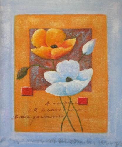 obraz Oranžovobílé květy